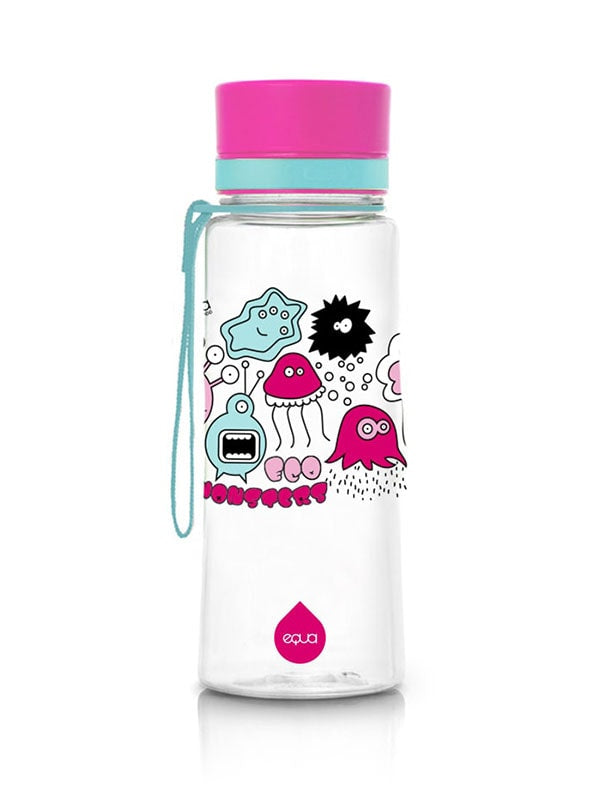 EQUA BPA FREE water bottle, Pink Monsters, motif of little monsters, pink and mint color