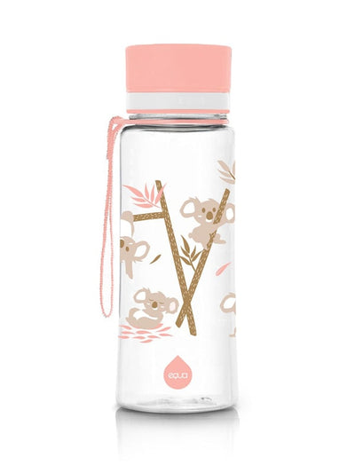 EQUA BPA FREE water bottle, Playground, motif of koalas, pink color