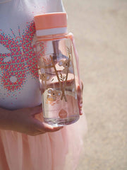 EQUA BPA FREE water bottle, Playground, close up of the bottle held by a girl, motif of koalas, pink color