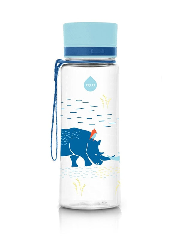 EQUA BPA FREE water bottle, Rhino, motif of rhinos, blue color