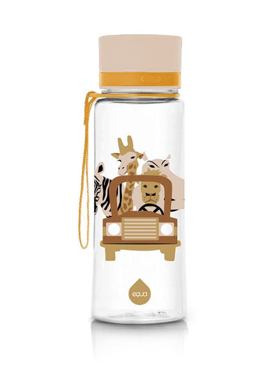 EQUA BPA FREE water bottle, Safari, motif of animals, beige color