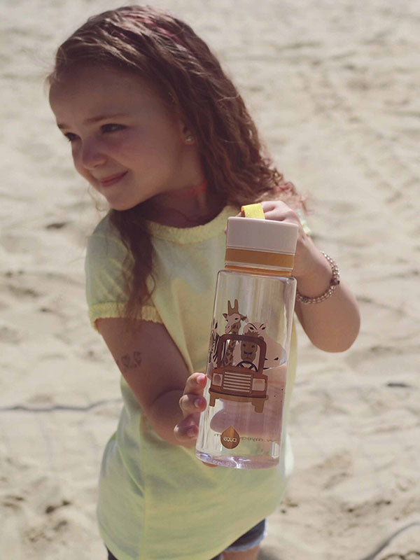 EQUA BPA FREE water bottle, Safari, happy little girl holding water bottle, motif of animals, beige color