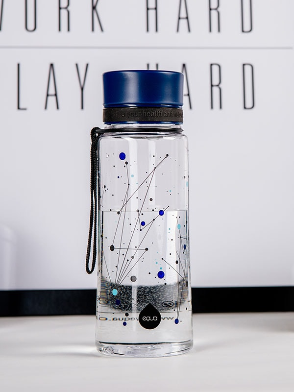 EQUA BPA FREE water bottle, Universe, close up of the water bottle on the office table, motif of universe, dark blue color