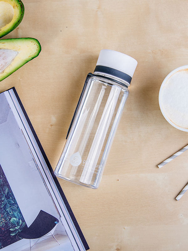 EQUA BPA FREE water bottle, Plain White, water bottle on the office table, minimalistic design, no motif, white color