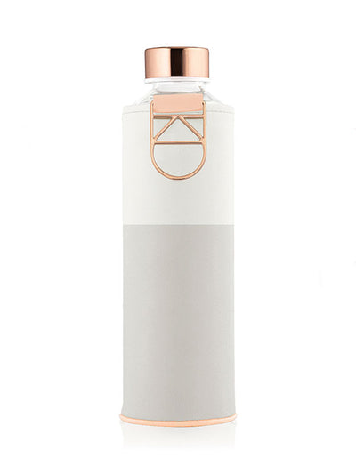 EQUA Sage glass bottle with white and grey faux leather cover and golden lid and metallic handle