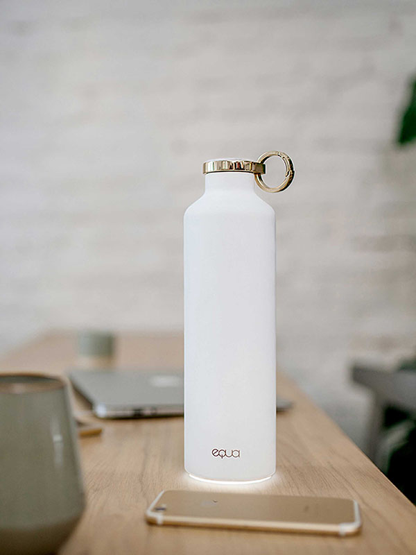 Bluetooth connectivity with your phone and gesture communication with Smart Water bottle Snow White by EQUA