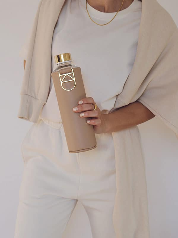 Gold detail Sienna glass water bottle in beige
