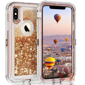 Apple iPhone X | Defender Liquid Glitter Case | Shockproof Hard Case + Belt Clip - Xcell Mobile
