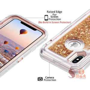 Apple iPhone XS Max | Defender Liquid Glitter Case | Shockproof Hard Case + Belt Clip - Xcell Mobile