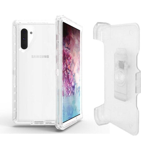 Samsung Galaxy Note 10 | Defender Clear Case | Shockproof Hard Case + Belt Clip - Xcell Mobile