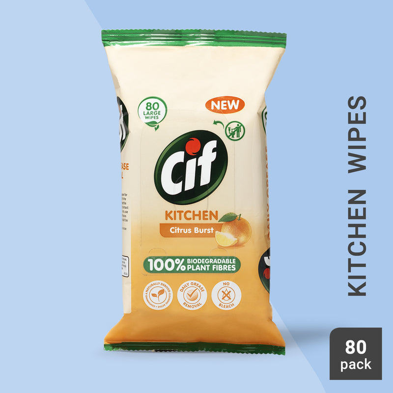 Cif Citrus Burst Kitchen Wipes 80pc