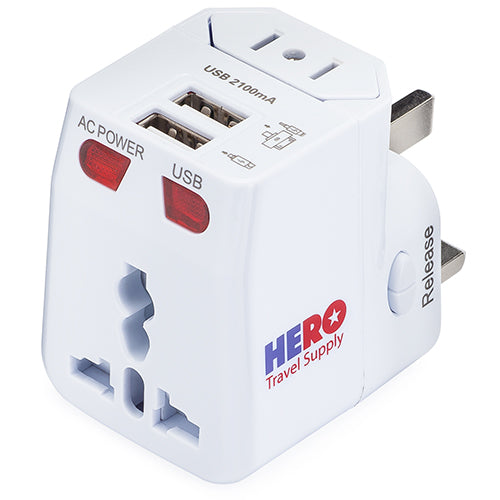 HERO Universal Travel Adapter with 2 USB Ports