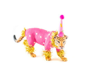 Party Animal Jaguar- painted carnival, circus, and birthday decor, cake topper