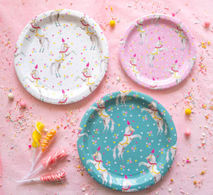 "Trick Horse Party Plates Pink- 7"" Wide Set of 8"