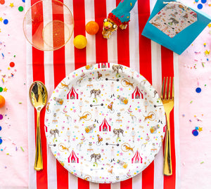 "It's a Circus Plates White Party Plates- 9"" Wide Set of 8"