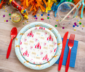 "Circus Fun Party Plates- 7"" Wide Set of 8"