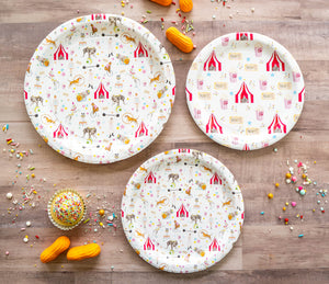 "Its a Circus Party Plates- 7"" Wide Set of 8"