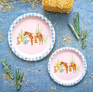 "Western Horse Party Plates- 7"" Wide Set of 8"