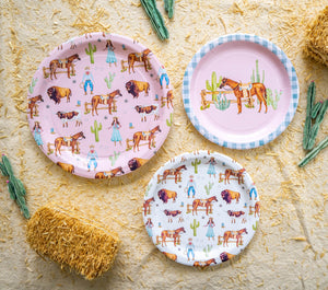 "Old Western Party Plates Pink- 9"" Wide Set of 8"