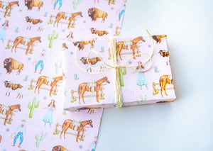 Old West Pink Wrapping Paper