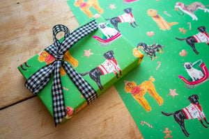 Holiday Dogs Wrapping Paper Green