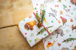 Holiday Party Animals Wrapping Paper White