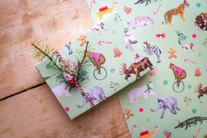 Holiday Party Animals Wrapping Paper Green