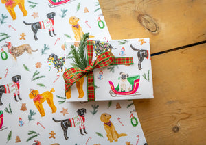 Holiday Dogs Wrapping Paper White