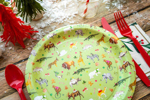 "Holiday Party Animal Plates Green- 9"" Wide Set of 8"