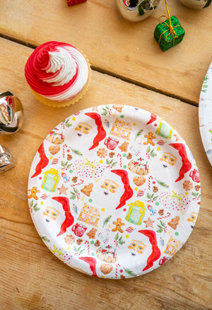 "Christmas Day Party Plates- 7"" Wide Set of 8"