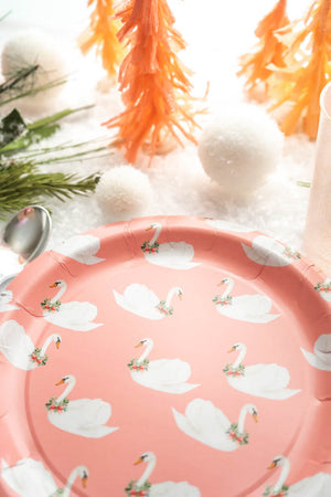 "Holiday Swan Pink Party Plates- 9"" Wide Set of 8"