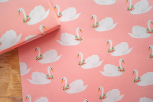 Holiday Swan Pink Wrapping Paper