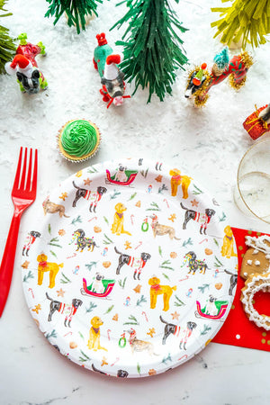 "Holiday Dog Party Plates White- 9"" Wide Set of 8"