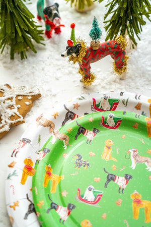 "Holiday Dog Party Plates Green- 7"" Wide Set of 8"