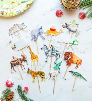 Holiday Party Animal Cupcake Toppers