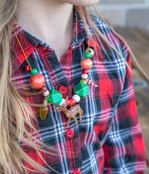 Painted Holiday Reindeer Necklace Kit -DIY Kit