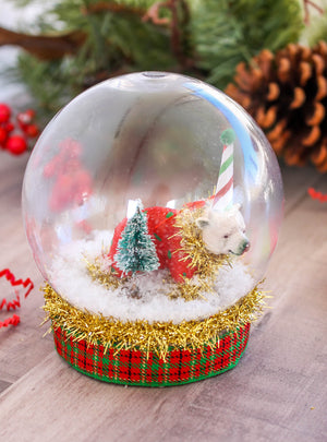 Polar Bear Snow Globe- cake topper, Holiday decor