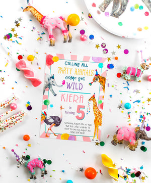 Party Animal Birthday Invitation- Pink