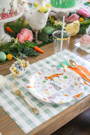 Green Gingham Paper Placemat