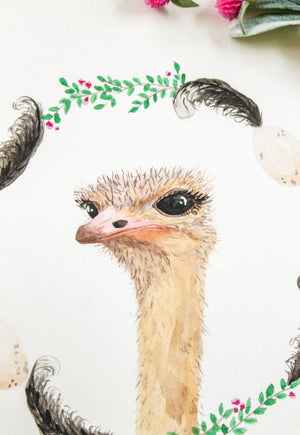 Ostritch Watercolor Print
