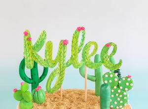Cactus Watercolor Name Cake Topper