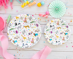 "Animal Parade Party Plates- 7"" Wide Set of 8"