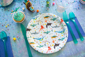 "Ocean Parade Party Plates- 9"" Wide Set of 8"
