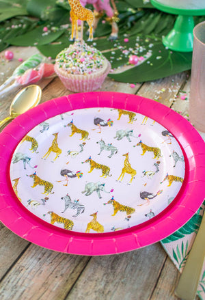 "Pink Safari Party Plates- 7"" Wide Set of 8"