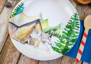 "Wolf Party Plates- 9"" Wide Set of 8"