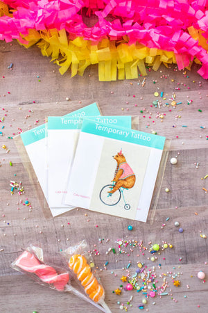 Bicycle Bear Temporary Tattoo- Favors, party decor