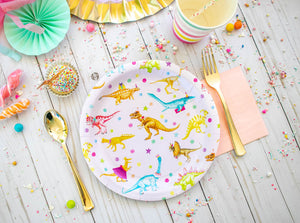 "Girls Dinosaur Party Plates- 7"" Wide Set of 8"