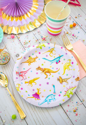 "Girls Dinosaur Party Plates- 9"" Wide Set of 8"
