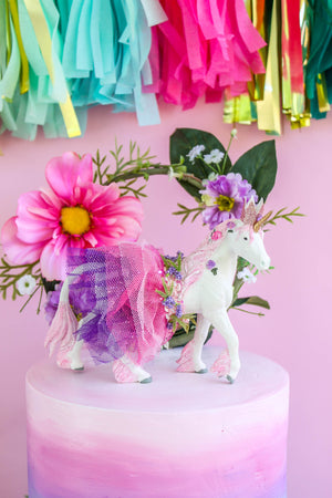Custom Tutu Unicorn -painted birthday decor & cake topper