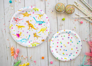 "Polka Dot Party Plates- 7"" Wide Set of 8"
